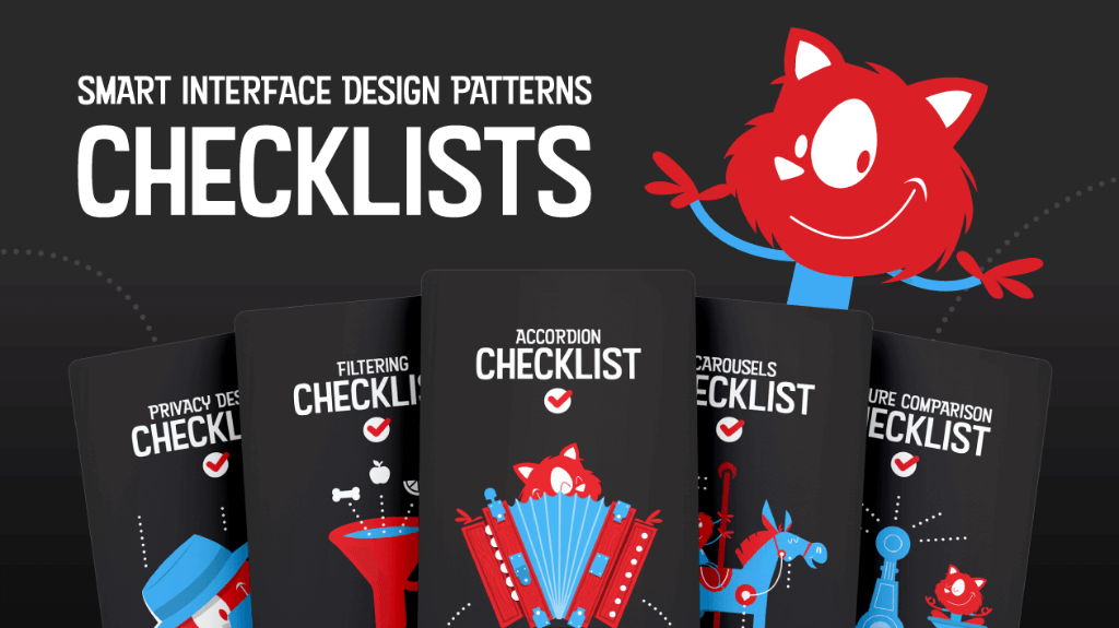 Image showing 5 cards of the checklist set with the Smashing Cat on the top right - headline is Smart Interface Design Patterns Checklists