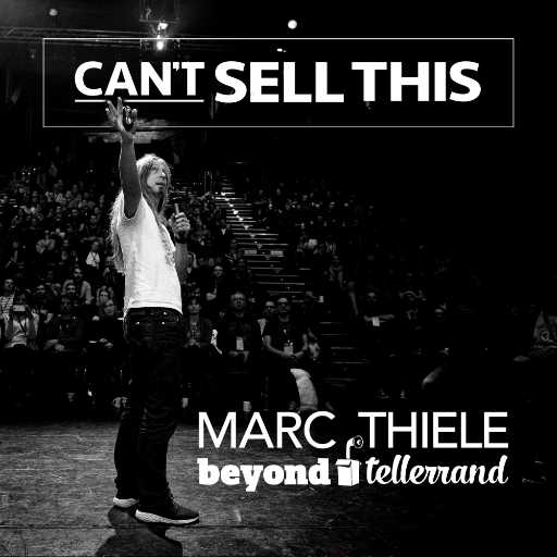 A photo of me on stage used as cover for the Can't Sell This podcast. Photo shows me pointing back to the canvas on stage, you see the audience in front of me, the podcast logo on top of the photo and my name, Marc Thiele, and beyond tellerrand in the lover left corner of the image.