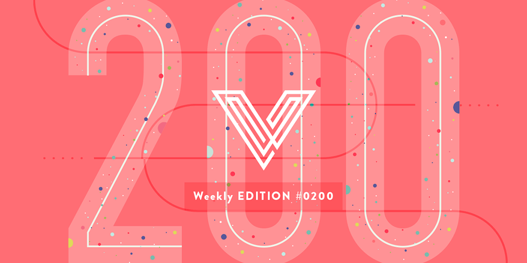 Illustration by Veerle Pieters showing a big 200 to celebrate the 200th edition of her newsletter