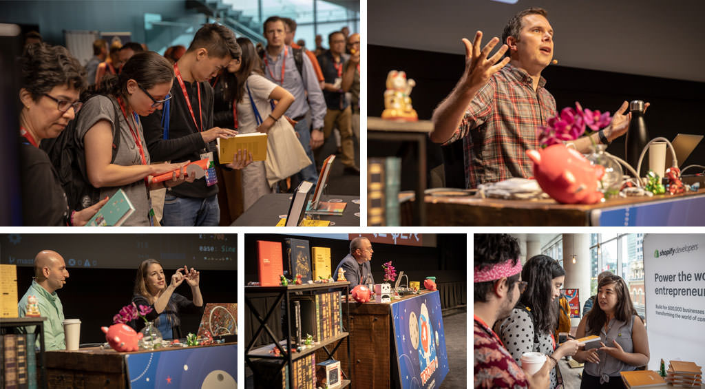 A collage showing a few speakers on stage at SmashingConf Toronto and people at sponsor booths