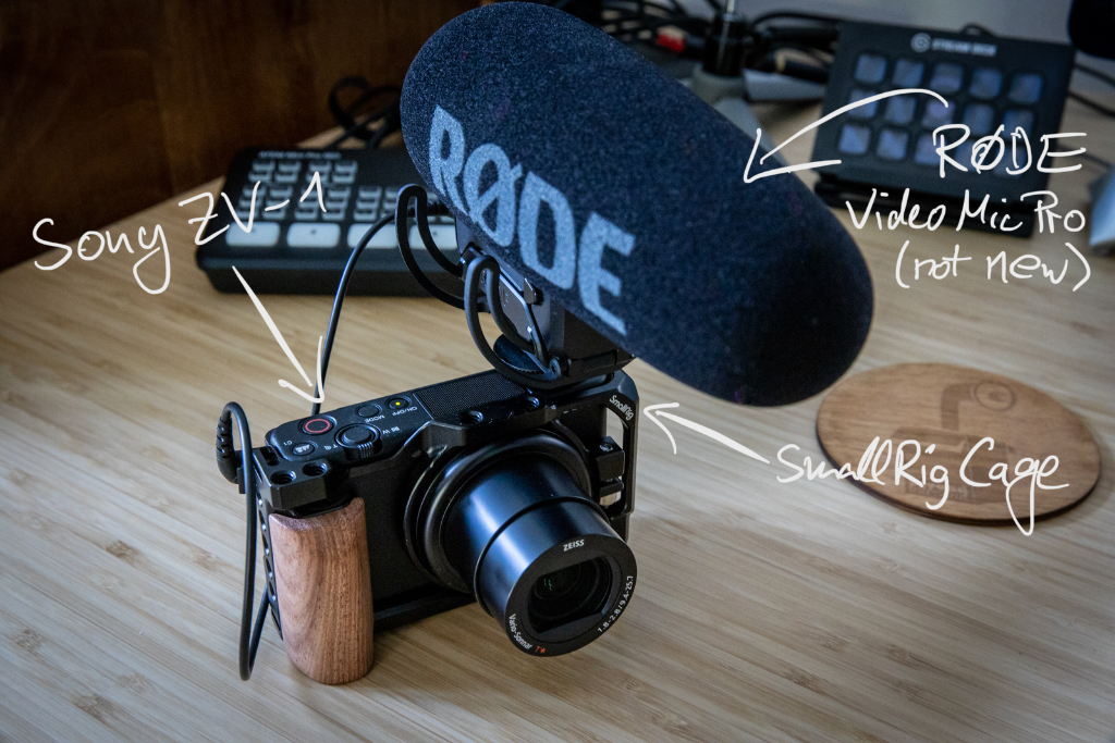 A photo showing my new Sony ZV-1 camera including a SmallRig cage and a Rode Video Mic Pro