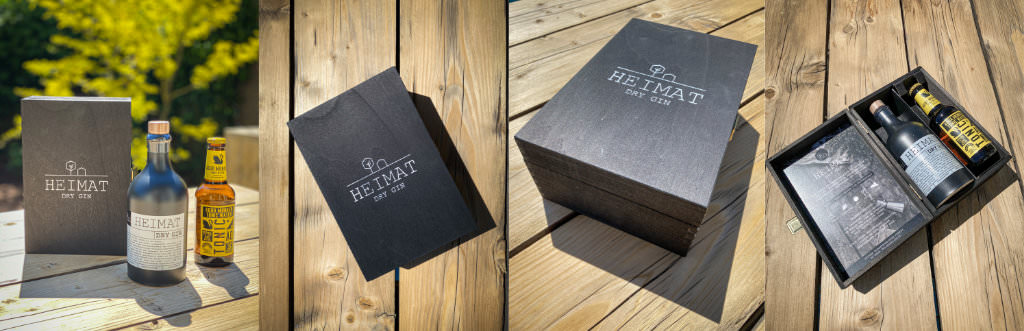 "A collage of photos showing the lovely packaging of ""Heimat"", a local gin from Schweigern"