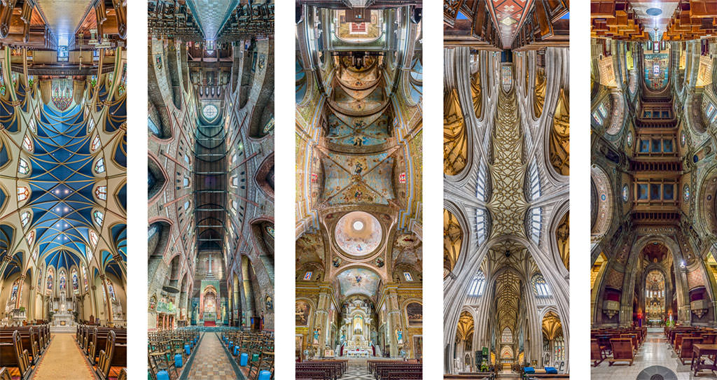 A collage showing 5 photos of churches, photographed in kind of a 360 degree way
