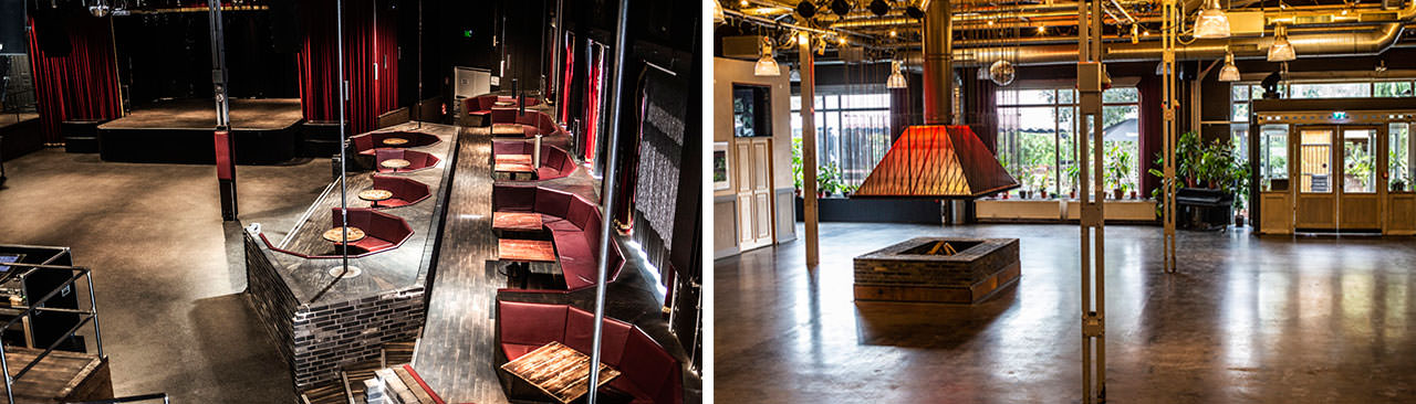 Two photos in a collage showing the new venue, left one with the exhibition space, a fireplace in the center and right one shows the seating situation in the theatre
