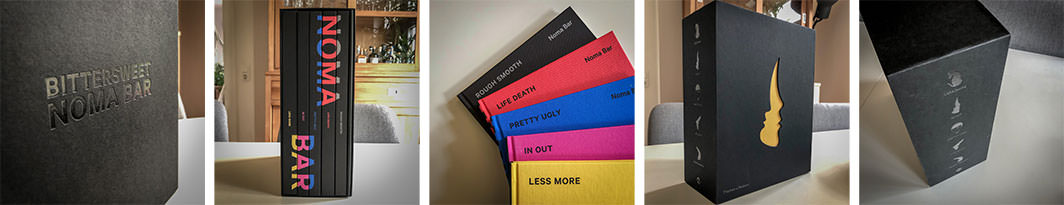 A set of photos from Bittersweet, a series of books by Noma Bar in a slidecase.