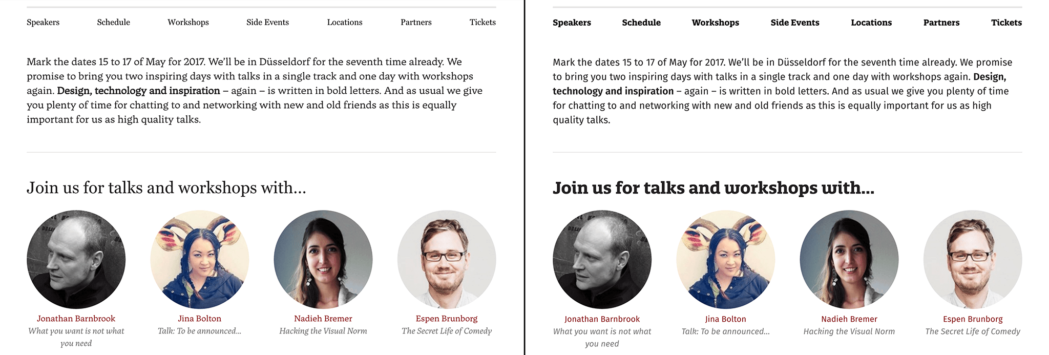 Screenshot of the events home page with speakers grid