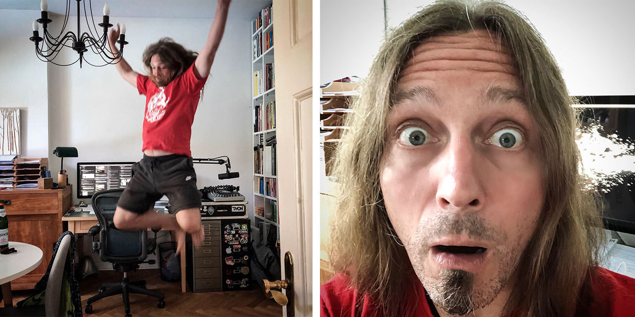 Two photos showing me. One happily jumping into the air, another one with an astonished face