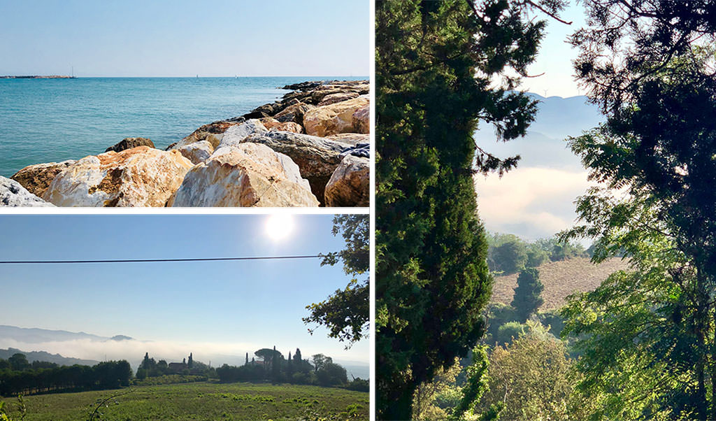 Three photos showing landscape of Tuscany in Italy, where I spend my holidays