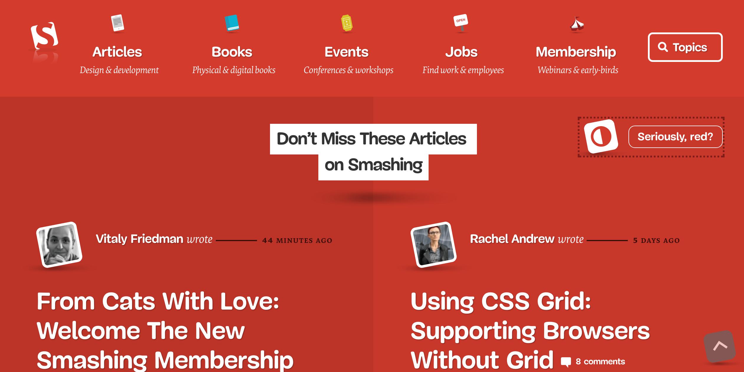Screenshot of Smashing Magazine's new website